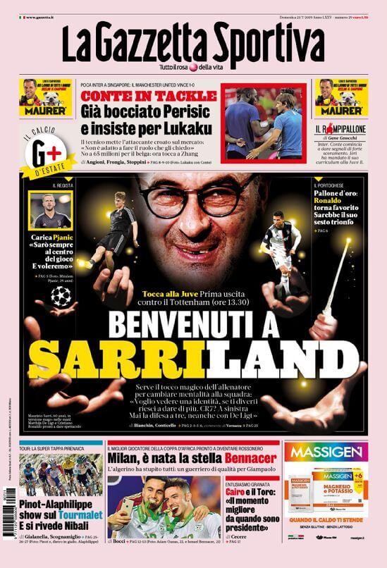 Prima pagina Gazzetta